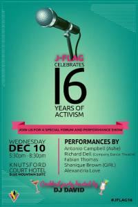 Invitation to J-FLAG's 16th Birthday Celebrations on International Human Rights Day.
