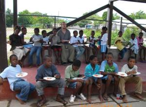Lunchtime with Luke at Trench Town Reading Centre.