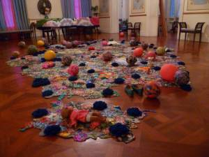 "Award-winning artist Ebony Patterson's ""Lilies, Carnations and Rozebuds (from Dead Treez)"" installation at Devon House. (Photo: National Gallery of Art Jamaica)"