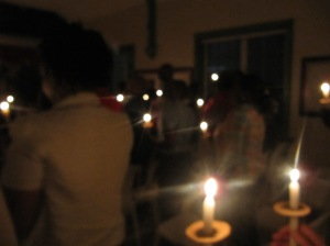 Candlelight at Webster Memorial Church during the annual World AIDS Day Vigil. (My photo)