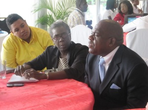 """Senator Floyd Morris joins our group discussion on special needs and education at the Digicel Foundation's Tenth Anniversary Forum on Special Needs: """"Towards Disability Inclusion."""" (My photo)"""