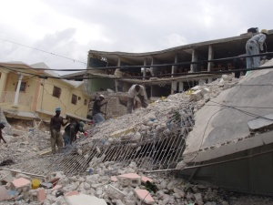 A school destroyed by the earthquake.