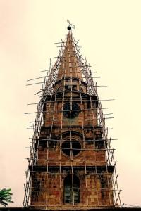 Bamboo scaffolding in Calcutta, India.