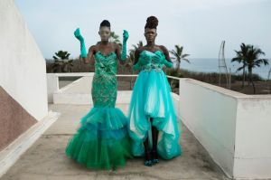 Models fit dresses for the Cameroonian, Paris- based, designer Martial Tapolo Couture before a show at Dakar Fashion Week on June 20, 2014, at Hotel des Almadies in Dakar, Senegal. (Photo: Per-Anders Pettersson)