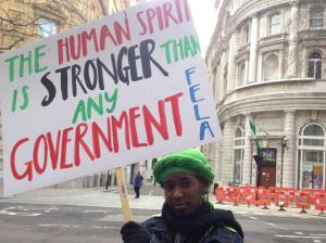 16 yr old Abundance at the #NigerianLivesMatter rally to raise awareness about BokoHaram attacks in Nigeria. (Photo: Twitter)