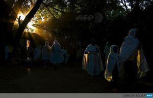 Ethiopian Orthodox Christians walk towards the Fasilides baths during the Timkat festival in Gondar. (Photo: AFP)
