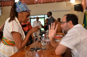 Minister of Justice, Senator the Hon. Mark Golding (right), in discussion with Vice-Chair, Ganja Future Growers and Producers Association, Maxine Stowe, following today's (January 21) Jamaica House media briefing. Among the matters discussed during the briefing were the proposed amendments to the current legislation concerning ganja. (Photo: JIS)