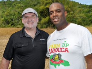 Gregory Cook (left), co-founder and executive vice-president of doTERRA, and Neil Curtis, founder and chairman of Farm Up Jamaica. (Photo: Dave Rodney)