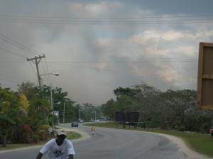 Fire coming from Negril's Great Morass in 2010. To the left of the picture are hotels, lining the beach. (Photo: Negril Environmental Protection Trust)