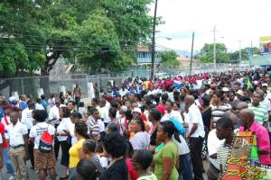 The march against crime and violence in Spanish Town on March 22 gets under way. Huge numbers convened at