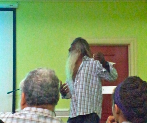Old Harbour Bay fisherman Charles Moodie makes a point at the presentation of the coral reef assessment.