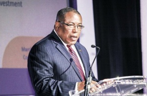 Minister Anthony Hylton at the Jamaica Investment Forum 2015 recently. (Photo: Philip Lemonte/Jamaica Observer)