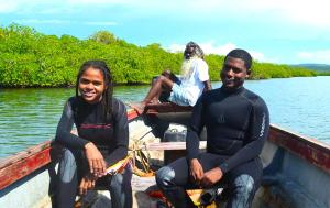 Researchers in the Portland Bight Protected Area smile for the camera. In the background is Mr. Charles Moodie. (Photo: Twitter)