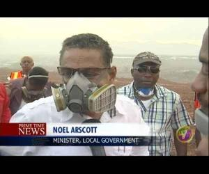 Minister of Local Government Noel Arscott visited the dump on his return from far-away Japan.