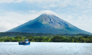 A boat on Lake Nicaragua. Yes, that is the (not entirely dormant)
