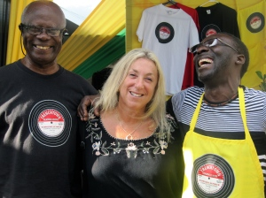 "Actor, writer and all-round cool person Owen ""Blakka"" Ellis (right) has a good laugh with Roslyn Ellison (centre), Director and my husband (left) at the 20th anniversary party of the Trench Town Reading Centre in 2013. (My photo)"