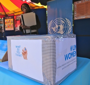 The UNFPA booth was gathering thoughts and information on violence against women. (My photo)