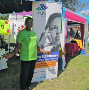 """The beautiful WMW Jamaica booth had a range of interesting publications. I picked up a copy of """"Gender Matters: A Guide to Understanding Gender."""" (My photo)"""