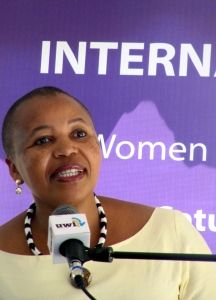 """South African High Commissioner Joyu Mathini was guest speaker on the topic: """"Women and Girls: The Power Within."""" She observed, """"You know…The patriarchy is still alive and kicking."""" (My photo)"""