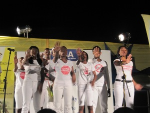 The Jamaica Youth Theatre performed at the Anti-Corruption Summit at the University of Technology on Monday evening. (My photo)
