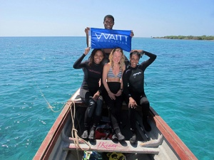 Survey team during surface interval time at Pigeon Island, from left: Achsah Mitchell, Kimani Kitson-Walters, Suzanne Palmer, Ivana Kenny (Photo: caribbeanenvironments.com)