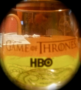 I received this lovely glass from the party. It reminds me that my favorite character, the embittered Cersei, drinks too much. It might help if she laid off the wine, but she has a goblet in her hand in almost every scene.
