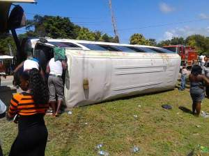 The driver of this bus, which crashed in Trelawny on Easter Day, has been charged with driving under the influence of alcohol. (Photo: On The Ground News Reports)