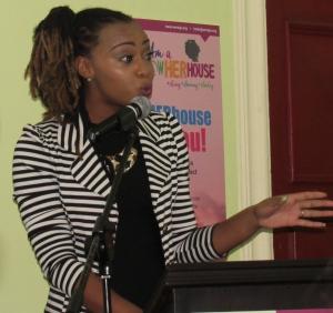 Krystal Tomlinson makes a dynamic presentation at the PowHERhouse event organized by WMW Jamaica. (My photo)