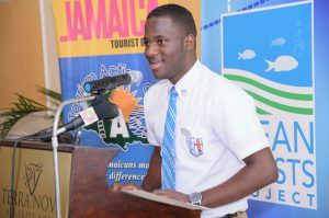The Best Spokesperson was Calvin Wright of St. George's College. He was simply delighted to win. (Photo: Jamaica Environment Trust)