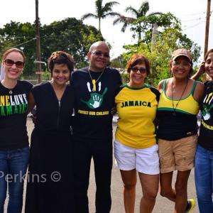 Michael Abrahams amidst several lady friends! (Far left is Senator Kamina Johnson Smith)