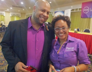 Beautiful in purple: I took this photo of J-FLAG Executive Director Dane Lewis with Digicel Foundation's Kerry-Jo Lyn before the event began.