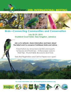 BirdsCaribbean will hold its 20th International Meeting in Kingston, Jamaica from July 25-29 at the Knutsford Court Hotel. Are you coming?