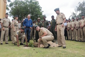 Cadets plant bird-friendly trees at Battle of Las Carreras Military Academy in the Dominican Republic.