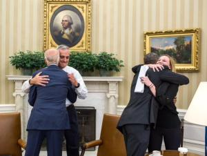 Hugs in the Oval Office after the U.S. Supreme Court's ruling on the Affordable Care Act on Thursday. (Photo: Pete Souza)