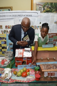 A student from West Indies Preparatory School in Manchester shows CEO of the National Environment & Planning Agency Peter Knight some tomatoes grown in the school's vegetable garden. (Photo: JET)