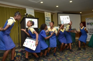 "St. Michael's Primary School in Kingston performs a dub poem ""Nuh Dutty Up Jamaica"" at the Schools Environment Programme event on Tuesday. (Photo: JET)"