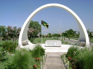 National Heroes Park is very well kept in the area where monuments stand; the rest is a dustbowl. (Photo: Jamaica Information Service)
