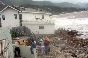 A house damaged by Hurricane Ivan in Jamaica in September, 2004. 17 people were killed in Jamaica and 18,000 made homeless, while damage was estimated at US$360 million. (Photo: Gleaner)