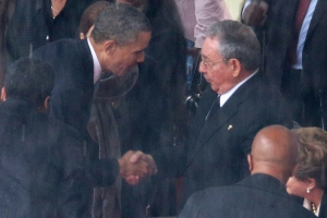 Do you remember this moment, not so long ago?President Obama shakes hands with Cuban President Raul Castro during the official memorial service for former South African President Nelson Mandela in December, 2013. (Photo: Getty Images)