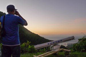 Arlington James of the Forestry, Wildlife and Parks Division conducting a radar survey on the western slopes of Morne Anglais, Dominica. (Photo: EPIC)