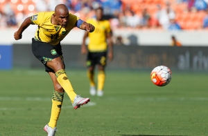HOUSTON, TX - JULY 11: Rudolph Austin #17 of Jamaica puts a shot opjn goal in the first half at BBVA Compass Stadium on July 11, 2015 in Houston, Texas.   Bob Levey/Getty Images/AFP