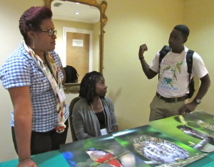 The Grenada delegation in animated conversation. I had the pleasure of attending the BirdsCaribbean conference in 2013 at St. George's University in Grenada. Conferences are held every two years.