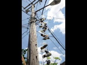 Illegal electricity connections in New Haven. (Photo: Rudolph Brown/Gleaner)