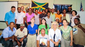 Trainees and trainers at the recent Caribbean Birding Trail session in Jamaica do a group photo:In front: Damian Parchment and Ann Sutton. Second row, left to right: Llewelyn Meggs, Gary Campbell, Wendy Lee, Holly Robertson, Dario Codling, Lisa Sorenson, and Beny Wilson. Standing: Rick Morales, Junior Carson, Kerian Vernon, Nasheeka Blackstock, Howen Campbell, Melesia Brown, Anna Riggon, Jason Stariwat, Jermy Schroeter, Ainsworth Smith, Leno Davis, Conroy James, Jermaine Sitcheron, Adrian Watson, Samdeka Codling, Ronald Homes, Julia Porter, Brian Coore, Rayon Skeene and Andrew Hall. (Photo: BirdsCaribbean)