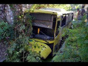 This bus ended up in a gully in Grants Pen recently. (Photo: Jamaica Gleaner)