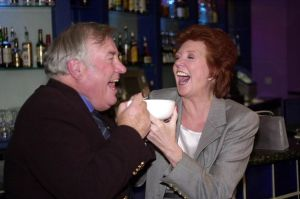 Cilla Black and her contemporary, comedian Jimmy Tarbuck, having a laugh during the inaugural Scouse Day in 2000.