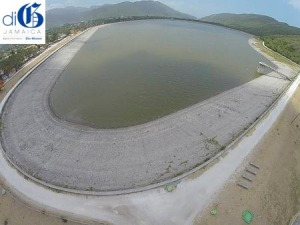 An aerial view of the Mona Reservoir last year. Water levels have not recovered and this year, as we suffer another extended drought, severe water restrictions are in place. (Photo: diGJamaica)