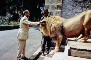 The Emperor Haile Selassie I with one of his lions.