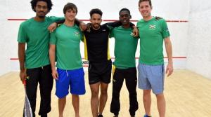 The Jamaican Senior Squash Team emphatically beat Trinidad & Tobago to win the Caribbean Senior Squash Championships in Cayman Islands recently. (l-r): Ashante Smith, Bruce Burrowes, Lewis Walters, Julian Morrison and Chris Binnie. (Photo: Loop Jamaica/CASA 2015)