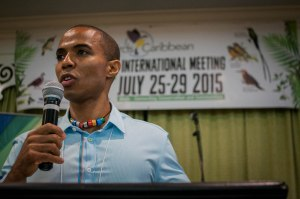 BirdsCaribbean President Dr. Leo Douglas addresses the opening ceremony.